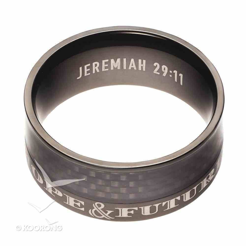 Mens Ring: Size 9, Hope and Future, Black Carbon Diamond Pattern Jewellery