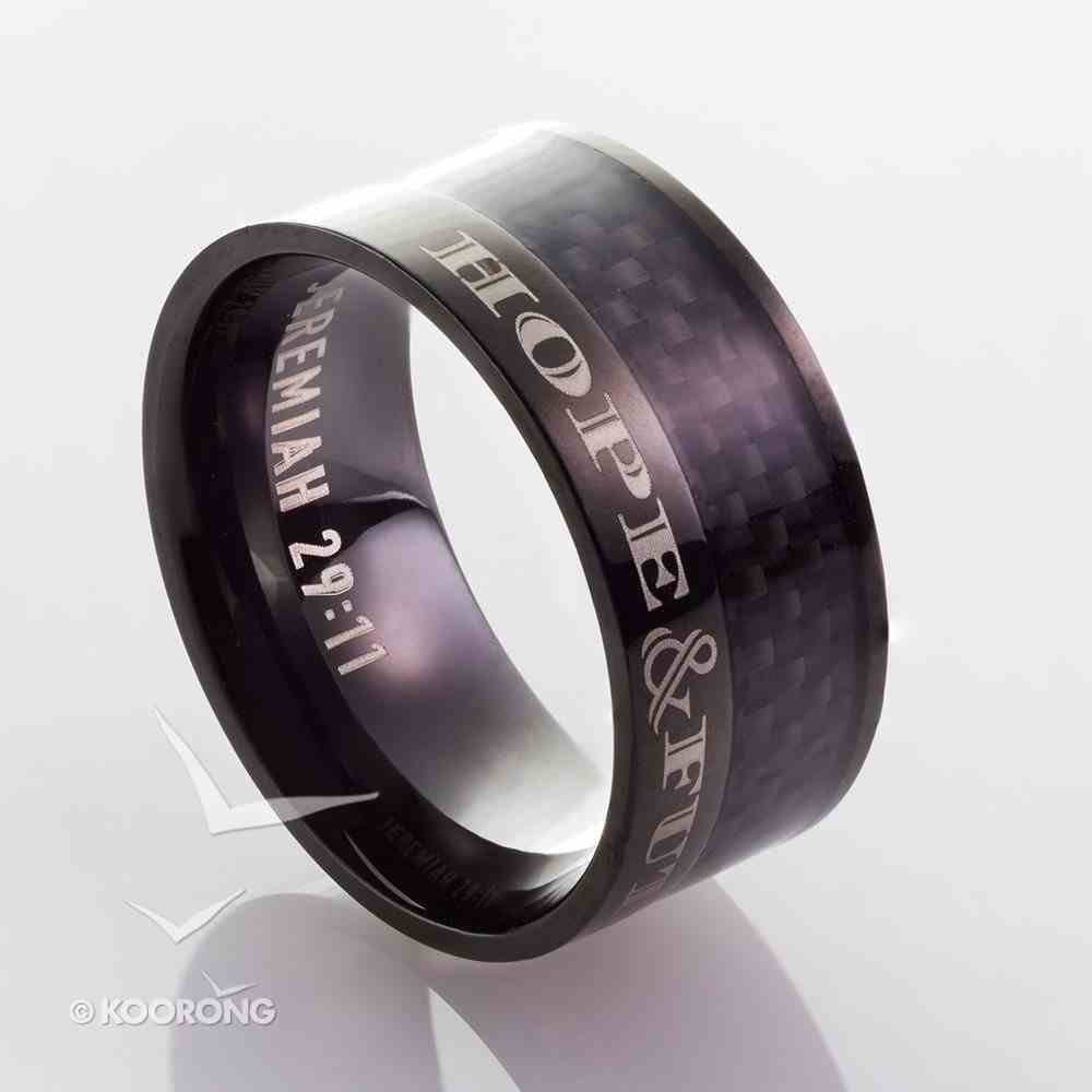Mens Ring: Size 10, Hope and Future, Black Carbon Diamond Pattern Jewellery