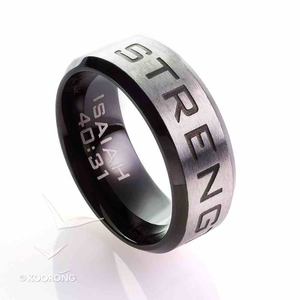Mens Ring: Size 10, Strength Isaiah 40:31, Silver Outside/Black Carbon Inside Jewellery