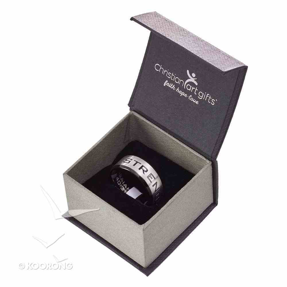 Mens Ring: Size 11, Strength Isaiah 40:31, Silver Outside/Black Carbon Inside Jewellery