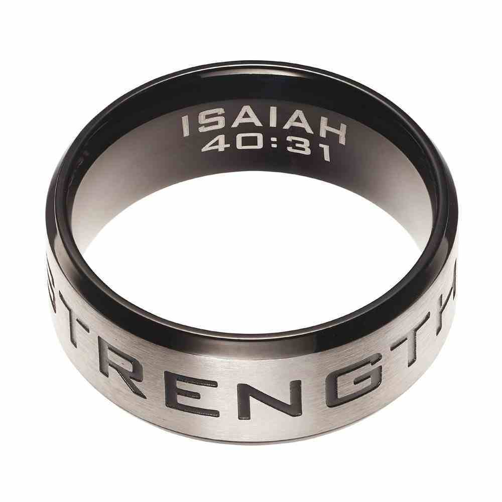 Mens Ring: Size 12, Strength Isaiah 40:31, Silver Outside/Black Carbon Inside Jewellery
