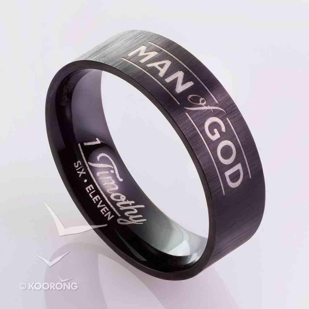 Mens Ring: Size 9, Man of God, Black Jewellery