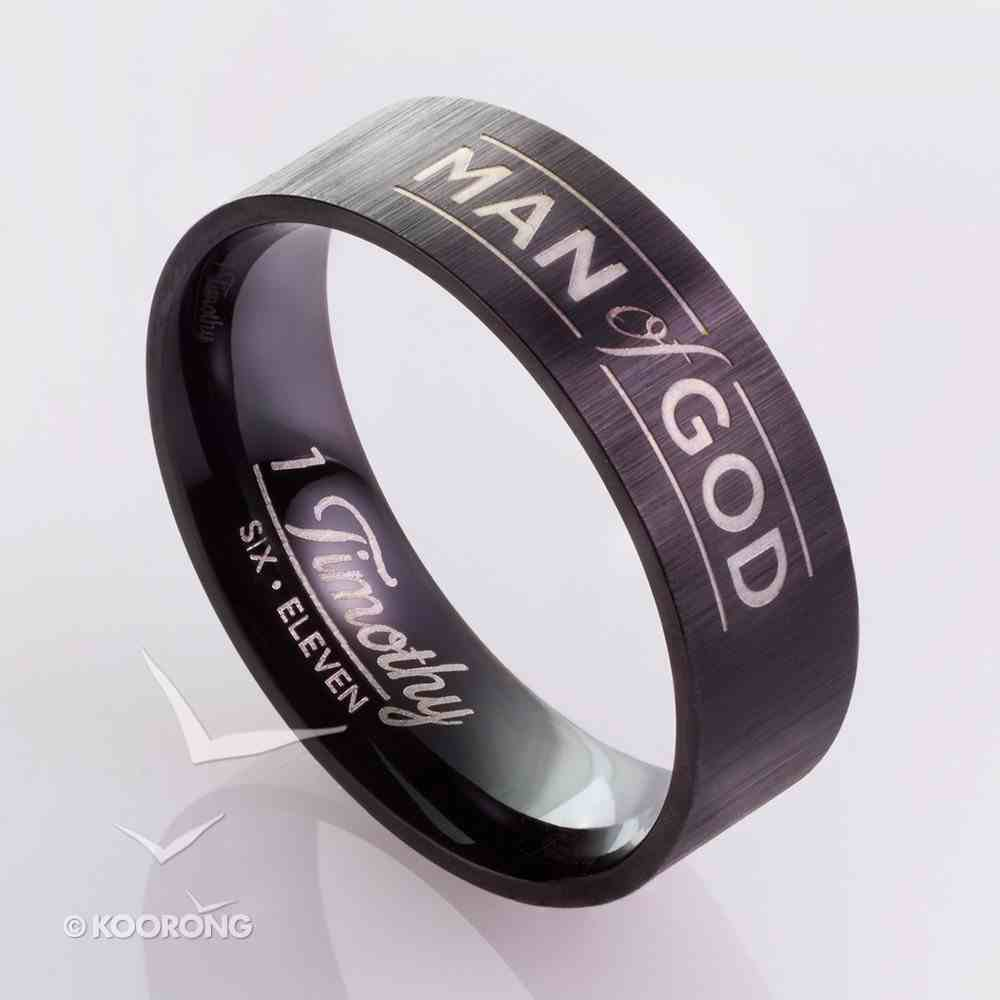 Mens Ring: Size 11, Man of God, Black Jewellery