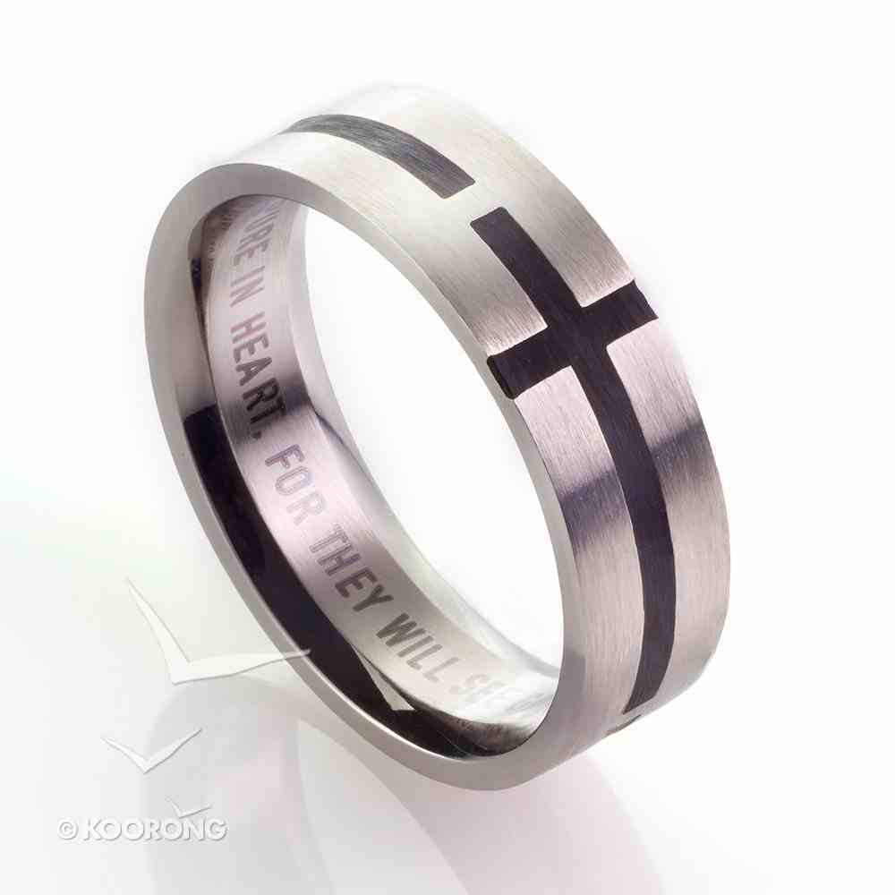 Mens Ring: Size 10, Cross Pattern Front, Black Fill Jewellery