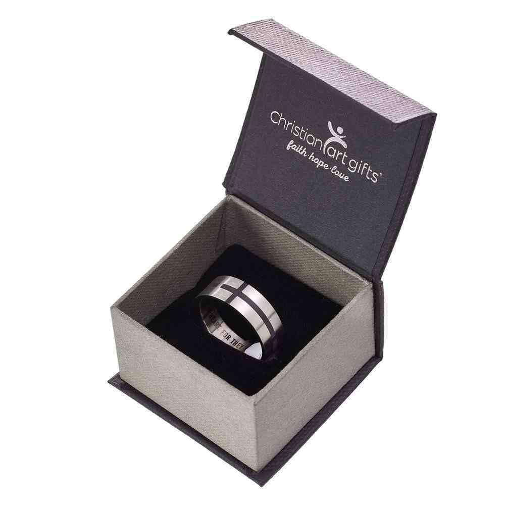 Mens Ring: Size 11, Cross Pattern Front, Black Fill Jewellery