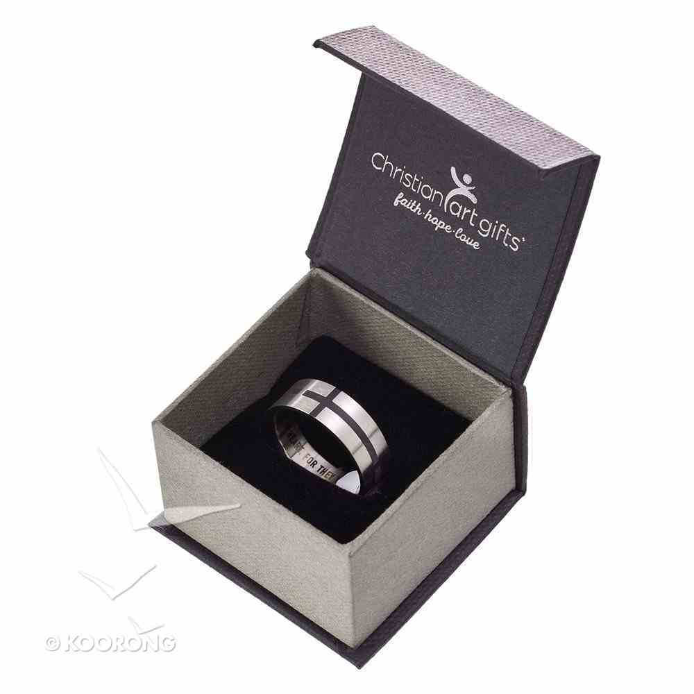 Mens Ring: Size 12, Cross Pattern Front, Black Fill Jewellery