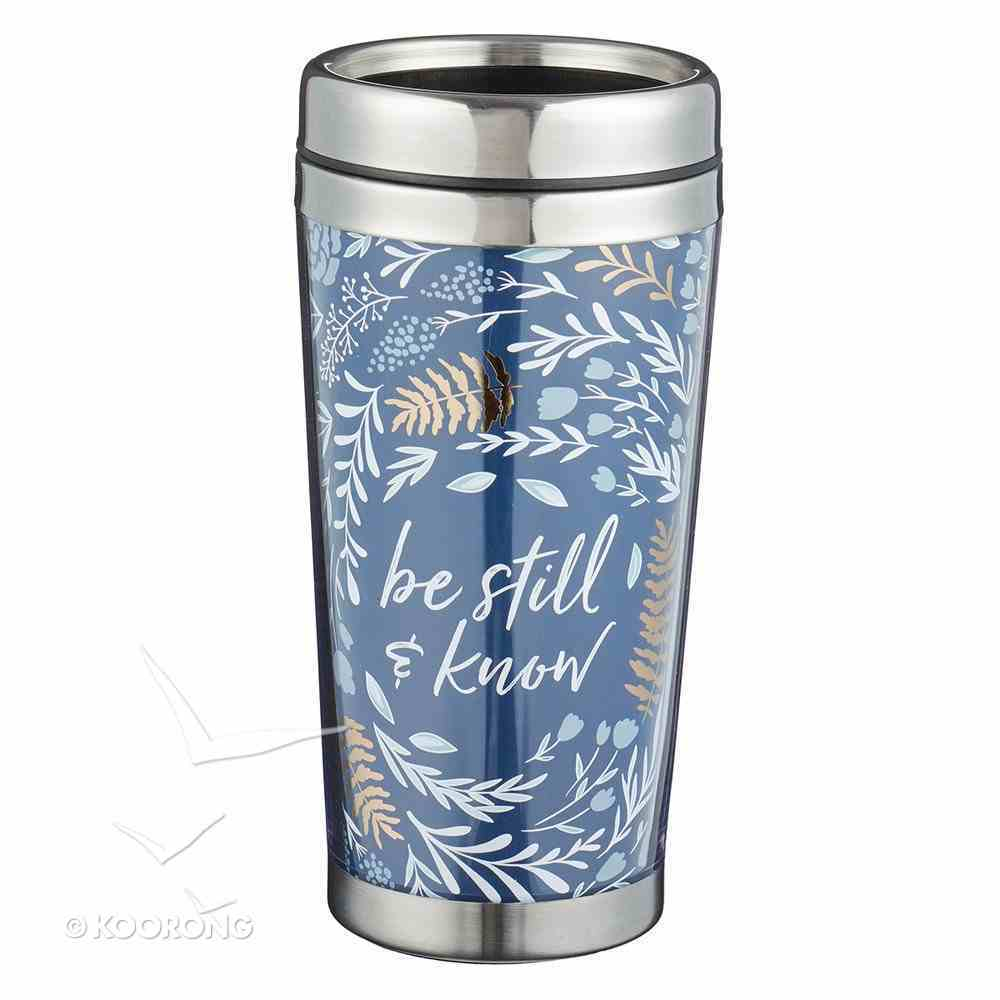 Polymer Mug With Design Insert: Be Still and Know That I Am God, Stainless Steel Lid Homeware