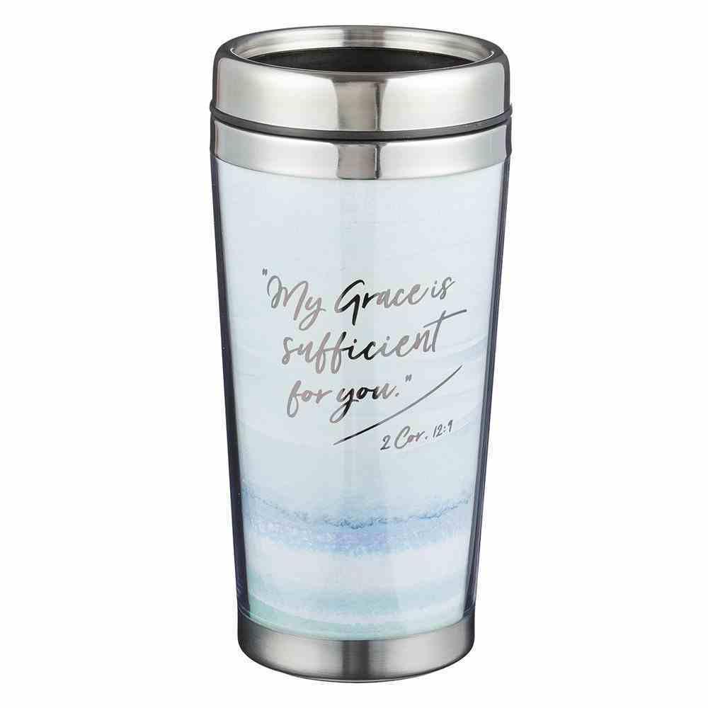 Polymer Mug With Design Insert: My Grace is Sufficient For You, Stainless Steel Lid Homeware