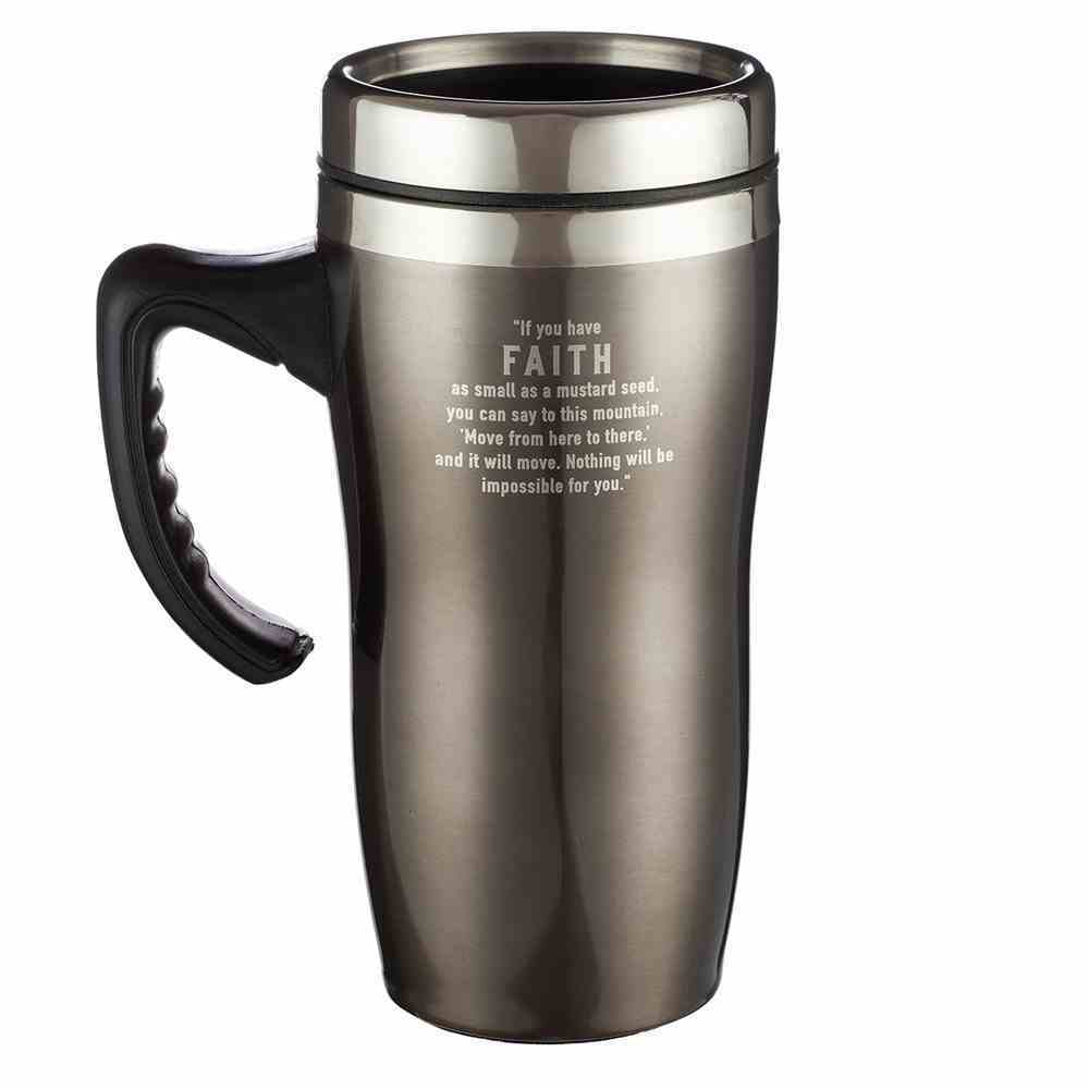 Stainless Steel Travel Mug With Handle: Faith, Brown/Silver Homeware
