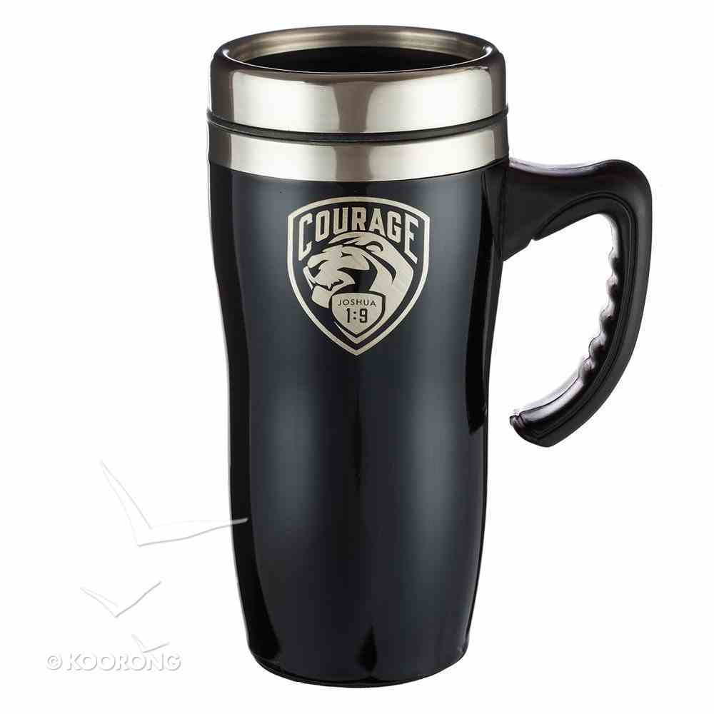 Stainless Steel Travel Mug With Handle: Courage, Black/Silver Homeware
