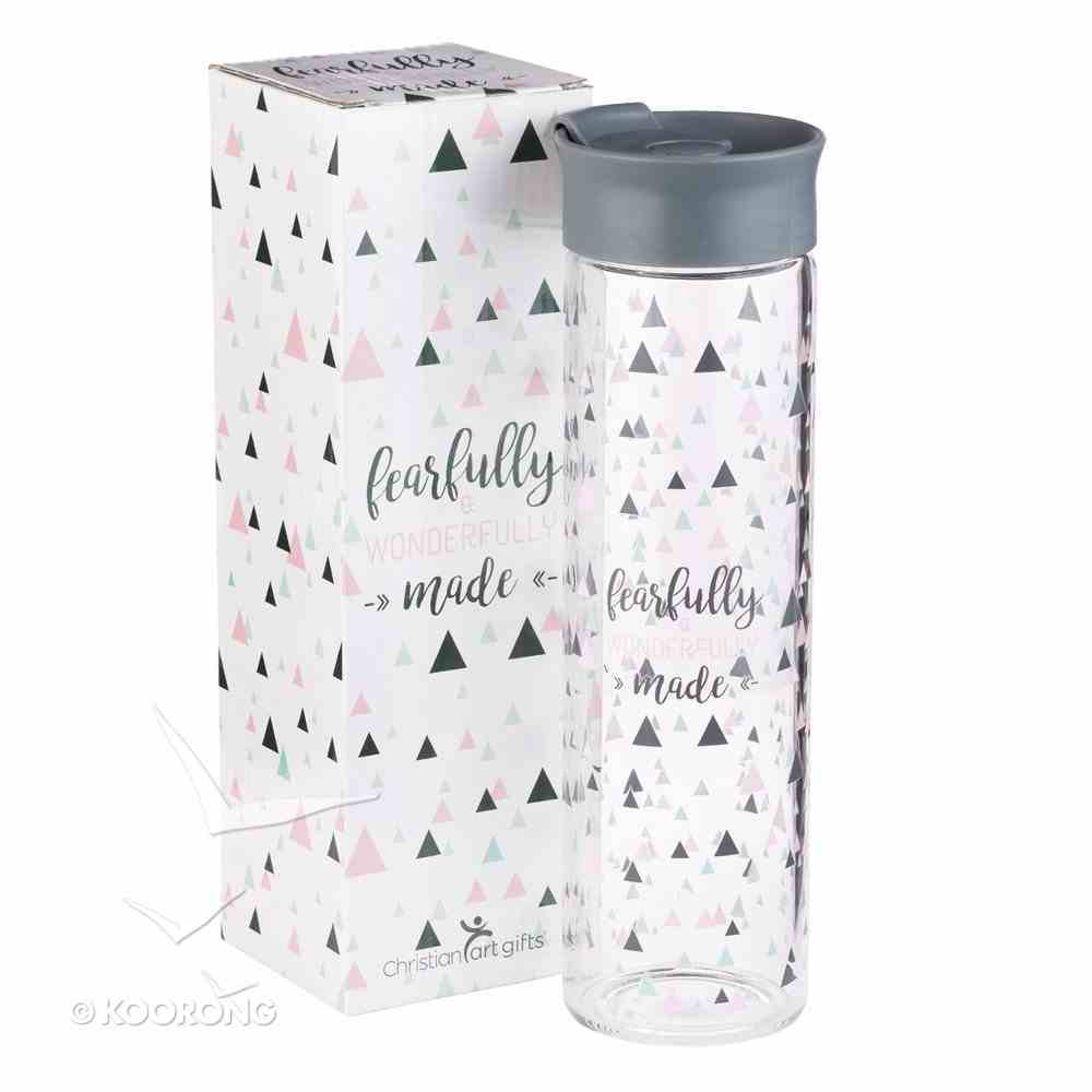 Water Bottle Clear Glass: Fearfully & Wonderfully Made...Silver Lid Homeware