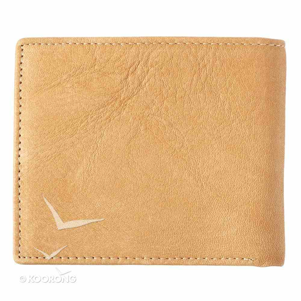 Mens Genuine Leather Wallet in Tin: John 3:16, Tan Soft Goods