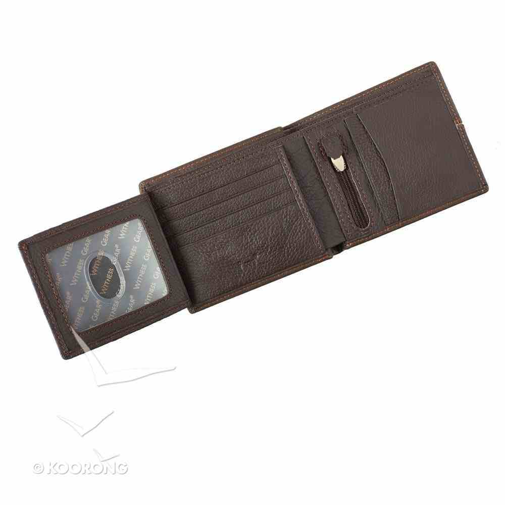 Mens Genuine Leather Wallet in Tin: Hope as An Anchor, Dark Brown/Tan Stripe Soft Goods