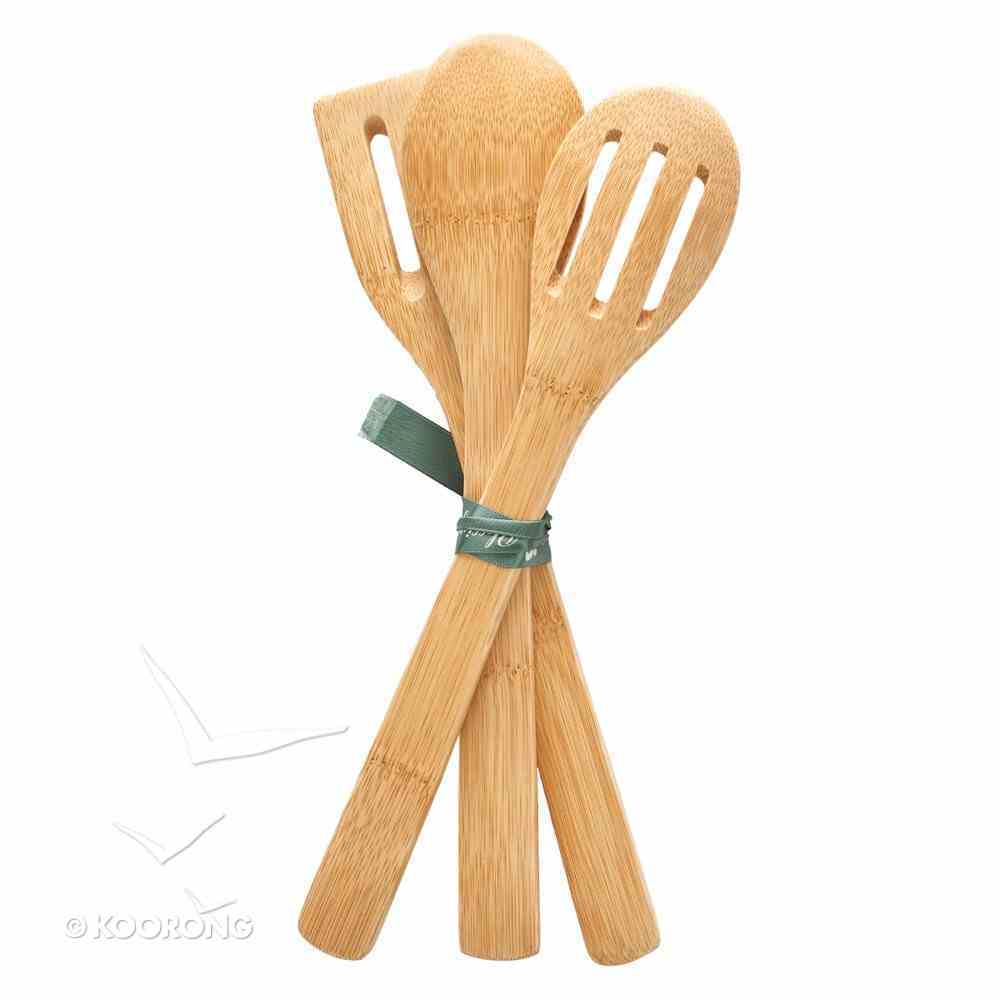 Bamboo Spoon Set of 3: Thankful, Grateful, Blessed (Thankful Grateful Blessed Series) Homeware