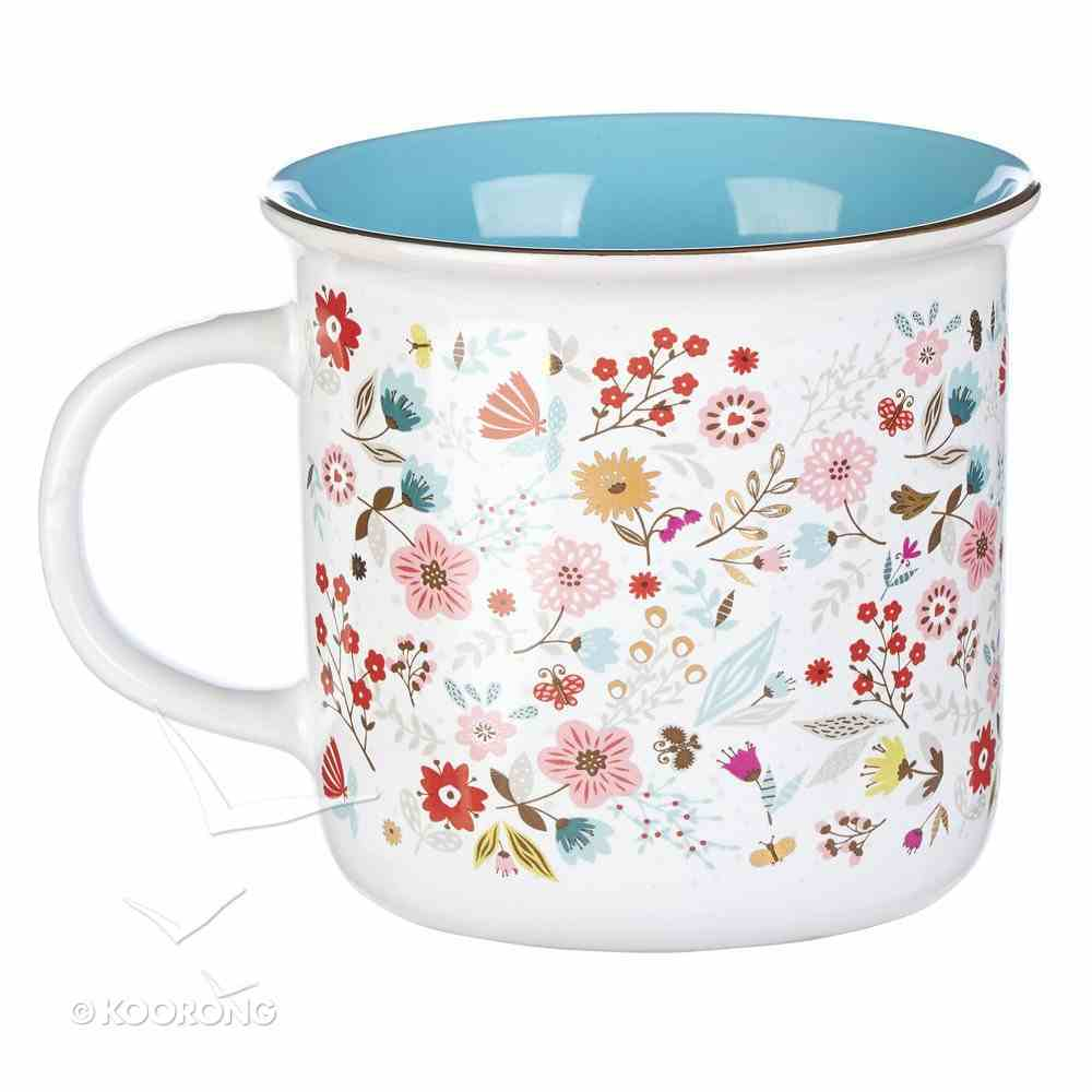 Ceramic Mug Today I Will Choose Joy, Floral Pattern/Blue Inside (384ml) (Choose Joy Collection) Homeware