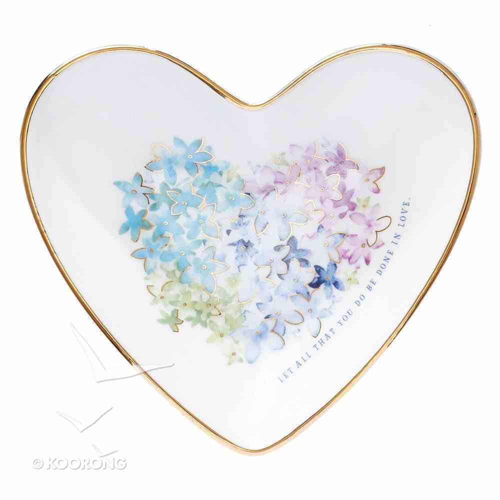 Ceramic Trinket Tray: Violet Floral Heart, With Gold Edging, Let All That You Do Be Done in Love (Violet Heart Collection) Homeware