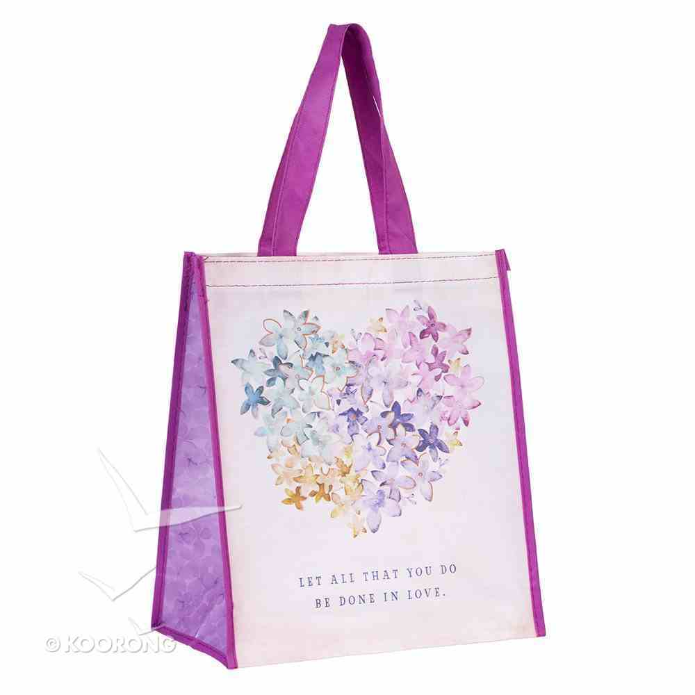 Tote Bag: Let All That You Do Be Done in Love, Violet Floral Heart With Purple Handles (Violet Heart Collection) Soft Goods