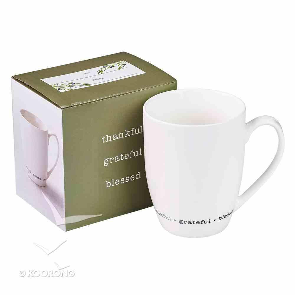 Ceramic Mug Thankful, Grateful, Blessed, Cream (325ml) (Thankful Grateful Blessed Series) Homeware