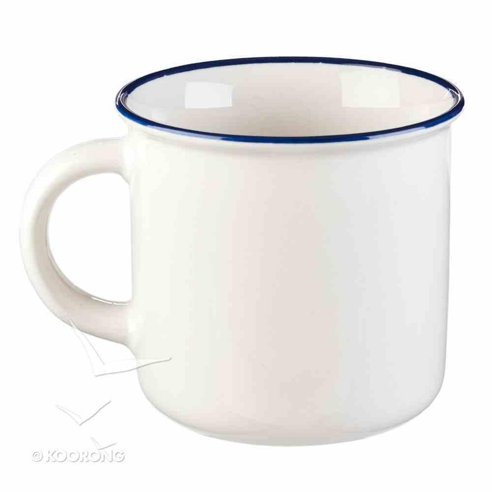 Camp Style Ceramic Mug: Blessed Beyond Measure, White/Blue (Blessed Beyond Measure Collection) Homeware