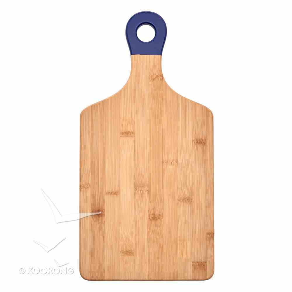 Bamboo Wood Cutting Board: Blessed Beyond Measure With Blue Handle (Blessed Beyond Measure Collection) Homeware