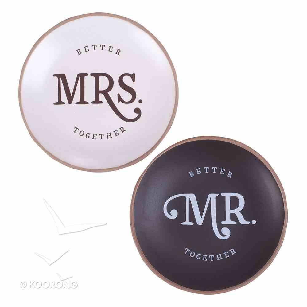Ceramic Trinket Tray : Mr & Mrs Better Together (Set of 2) (Better Together Collection) Homeware