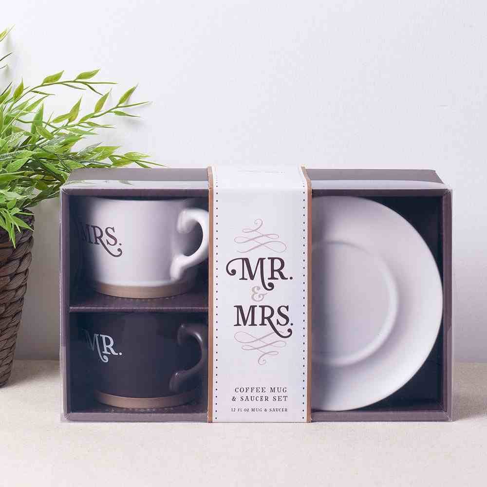 Ceramic Mugs 355ml: Mr & Mrs Better Together (Set of 2 With Saucers) (Better Together Collection) Homeware