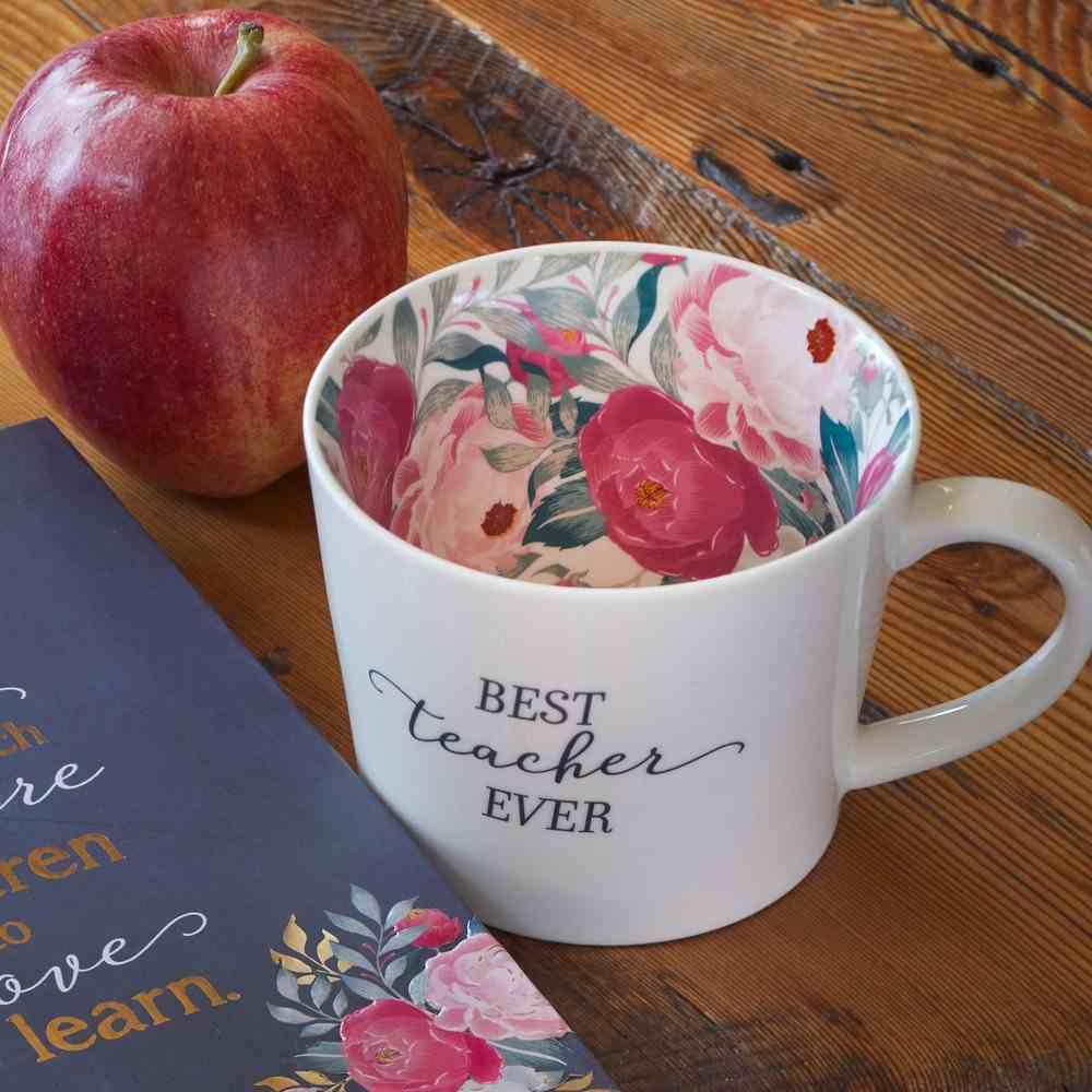 Ceramic Mug Best Teacher, Floral Interior (384ml) (Best Teacher Ever Collection) Homeware