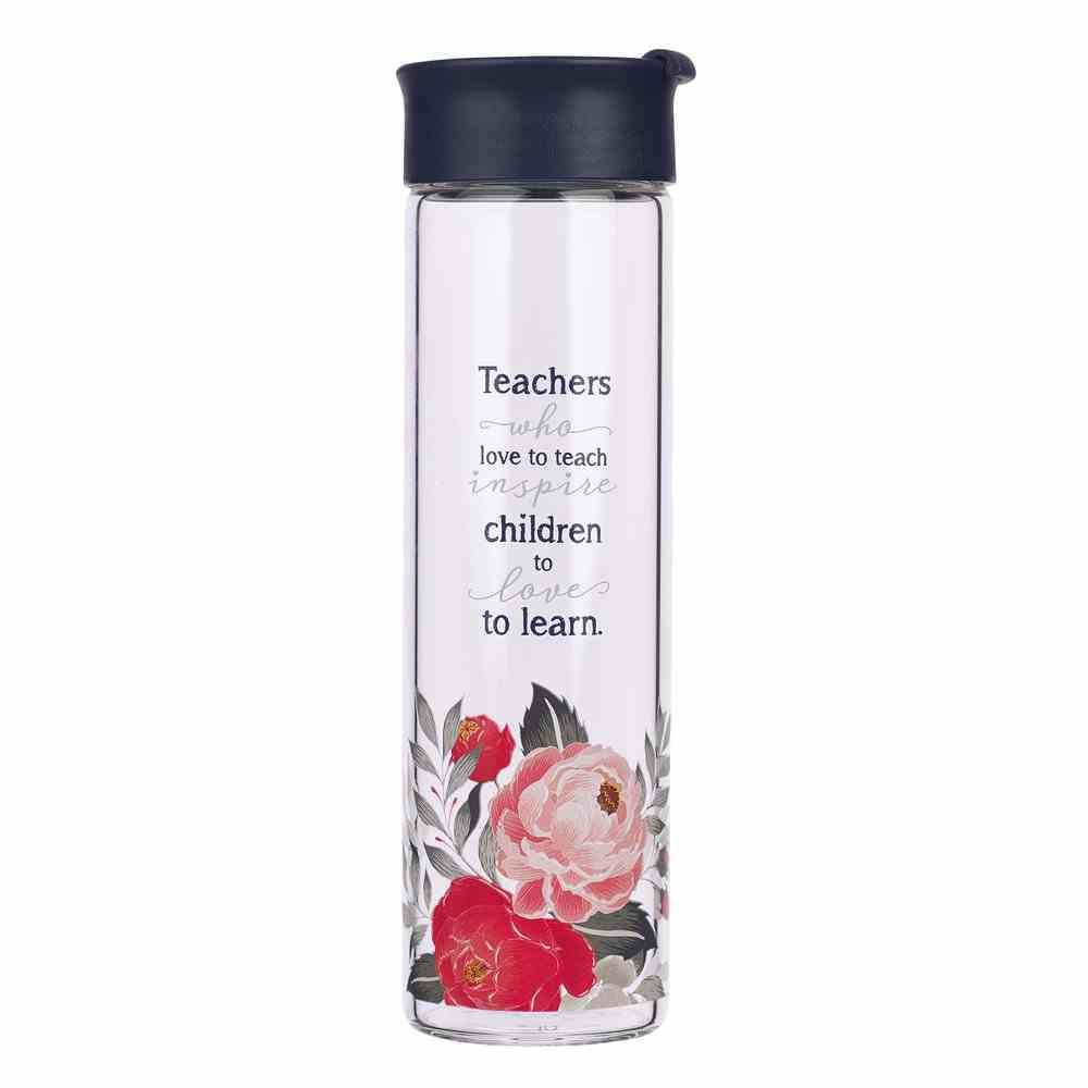 Water Bottle Clear Glass: Best Teacher, 591ml, Cold Drinks Only (Best Teacher Ever Collection) Homeware
