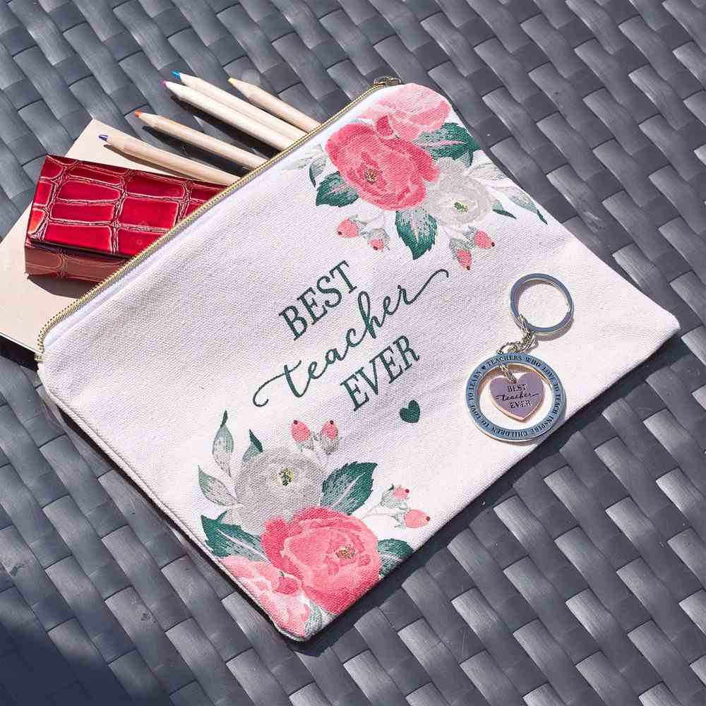Zipper Pouch: Best Teacher, Canvas Roses (Best Teacher Ever Collection) Soft Goods