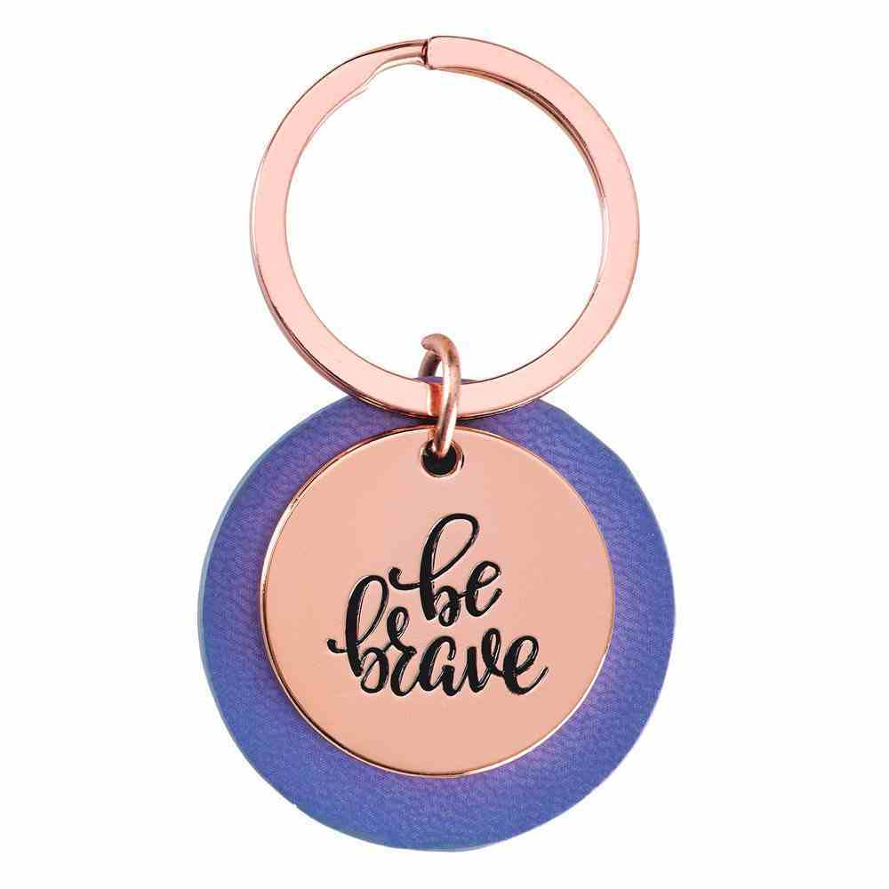 Keyring: Be Brave, Rose Gold and Leatherlux Lavender (Be Brave Grateful Joyful Series) Jewellery