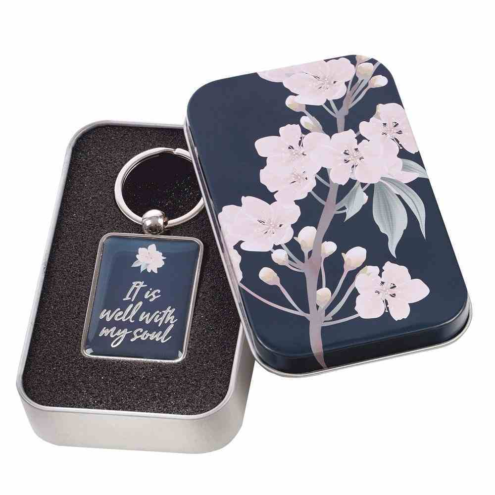 Keyring in Tin: It is Well, Epoxy-Coated Front, Brushed Metal Back (It Is Well Collection) Jewellery