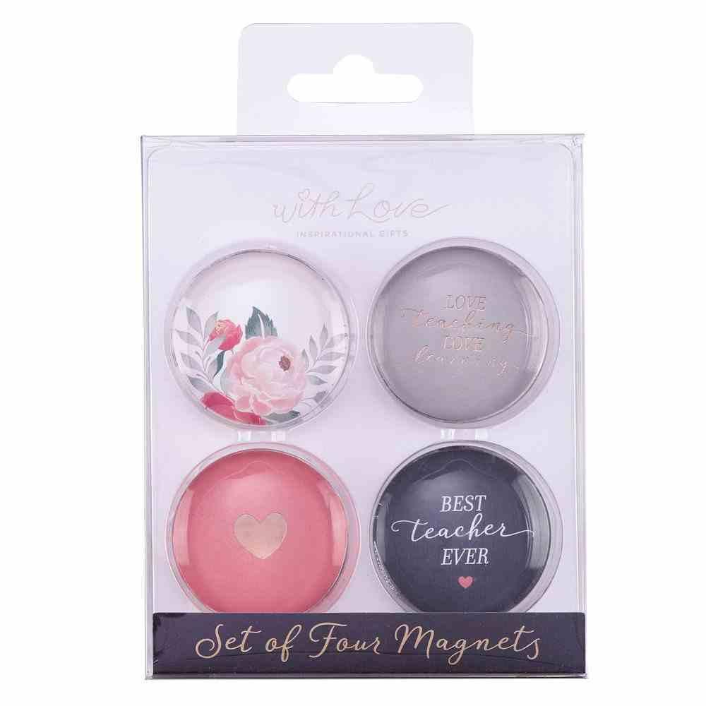 Glass Magnet Set of 4: Best Teacher Ever (Best Teacher Ever Collection) Novelty