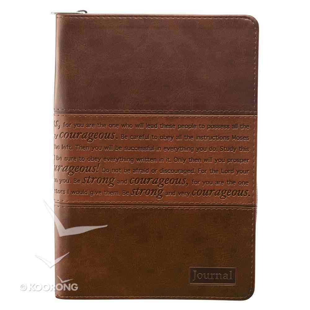 Journal With Zip Closure: Strong and Courageous, Brown Imitation Leather