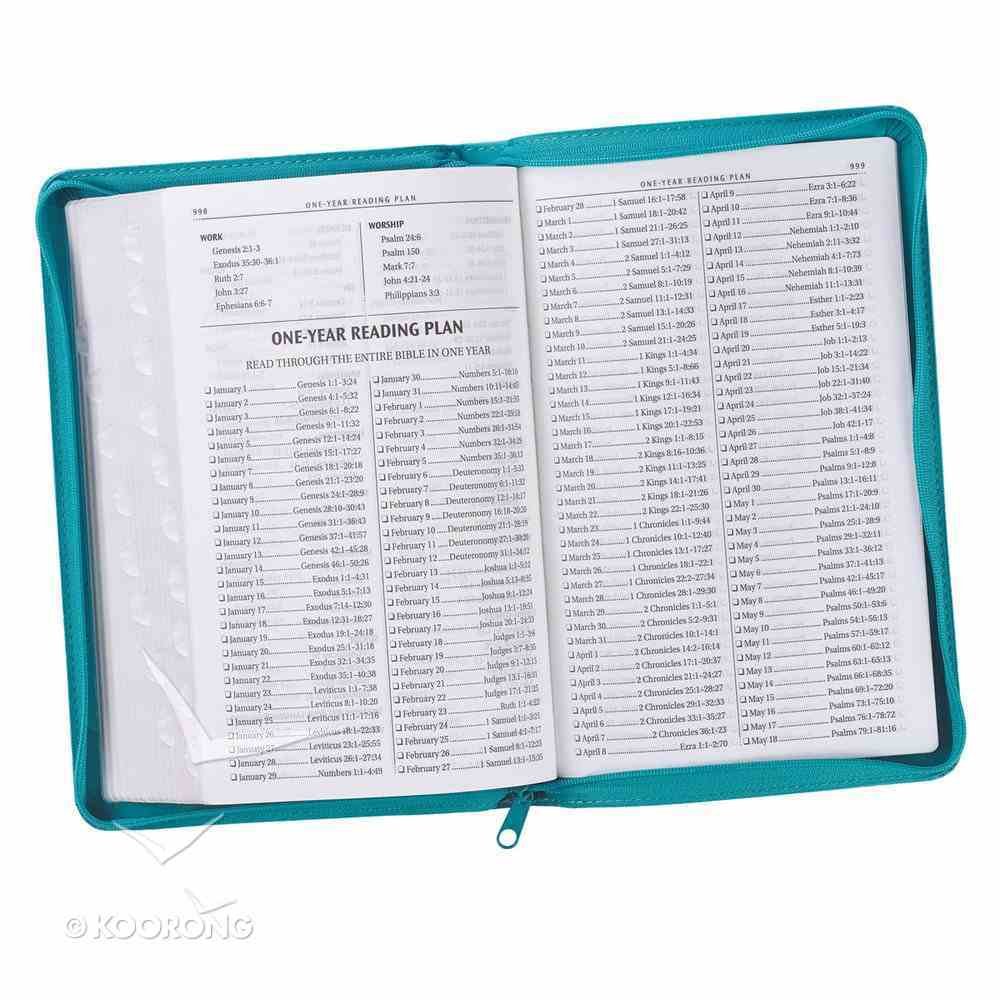 KJV Gift and Award Bible Zippered Aqua Red Letter Edition Imitation Leather