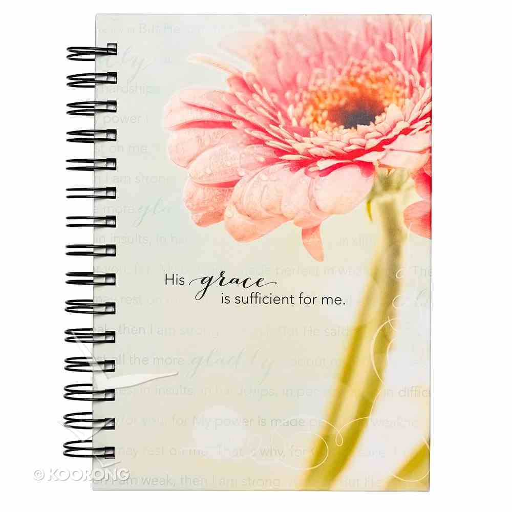 Journal: His Grace is Sufficient For Me, Pink Flower Spiral