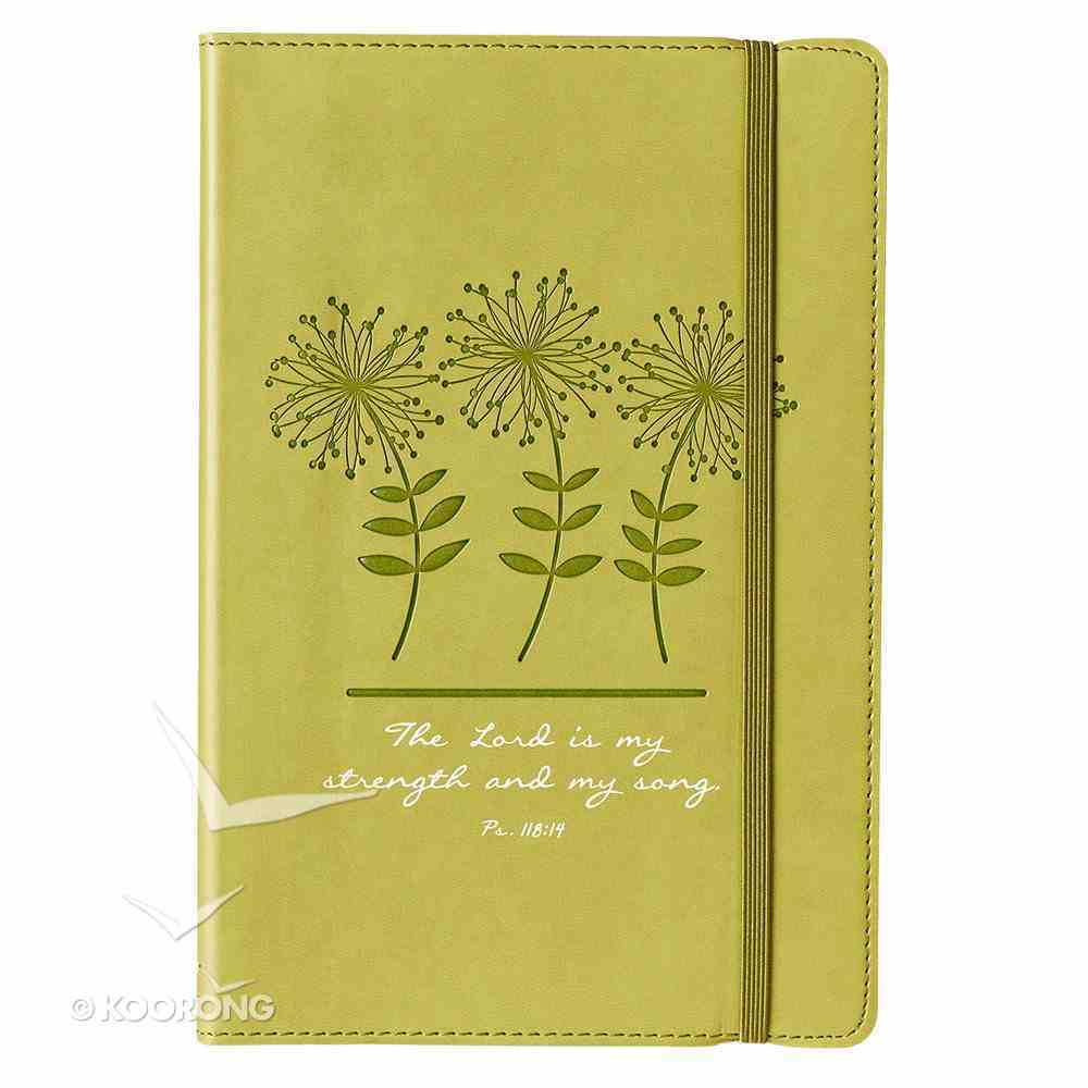 Journal: Strength & Song, Lime Green With Elastic Closure Imitation Leather
