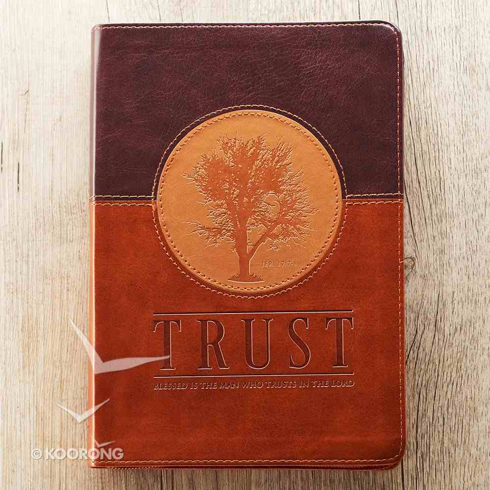 Journal With Zip Closure: Trust, Brown/Tan Imitation Leather