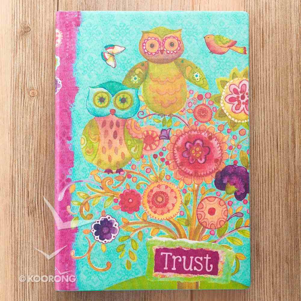 Silky-Soft Printed Journal: Trust Bright Flowers/Owls Luxleather Imitation Leather