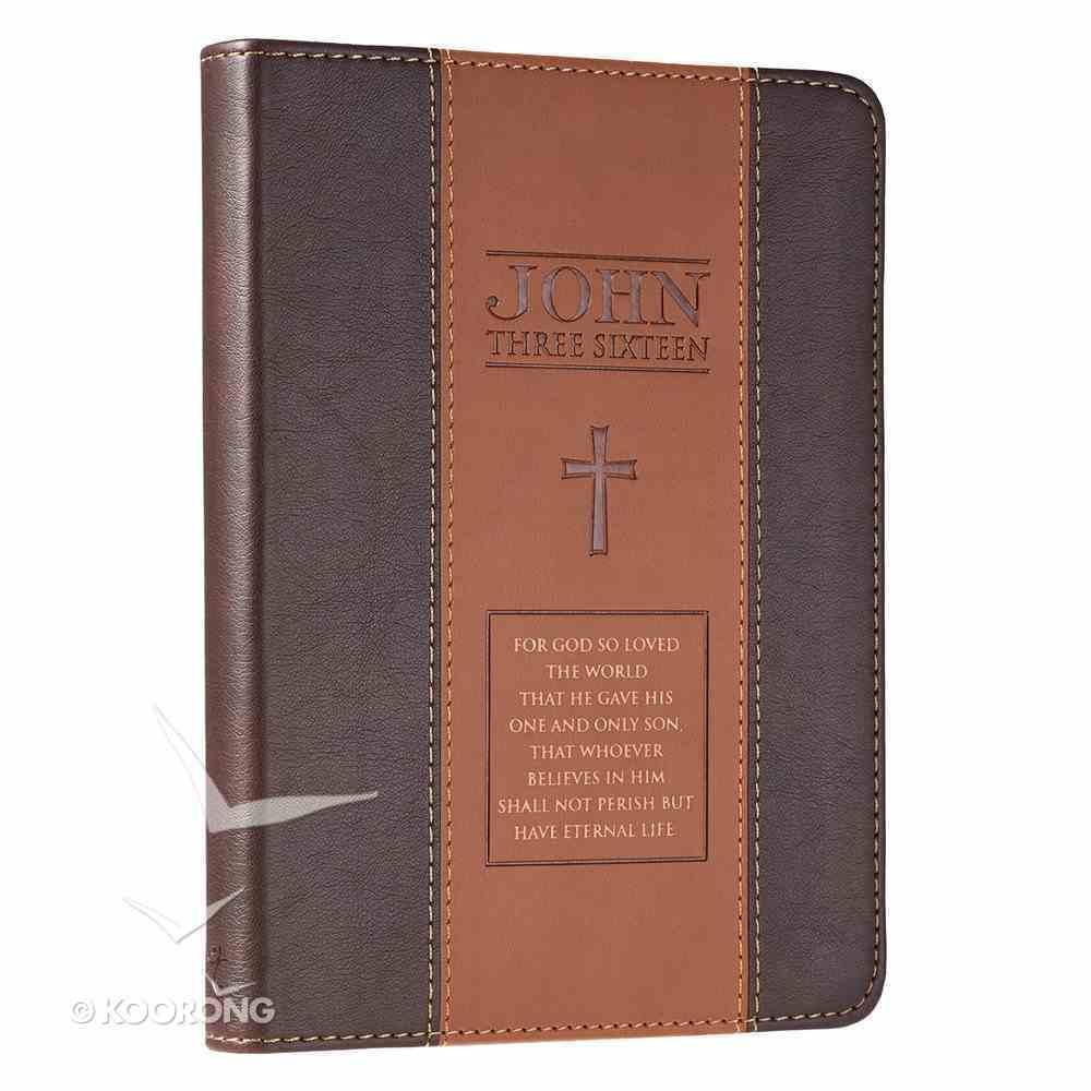Classic Journal: John 3:16 Two-Tone Tan/Brown Imitation Leather