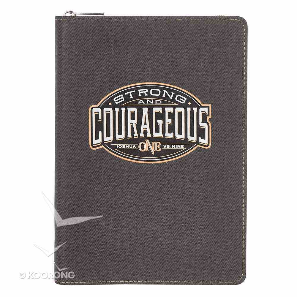 Journal: Strong & Courageous With Zipper, Luxleather Imitation Leather