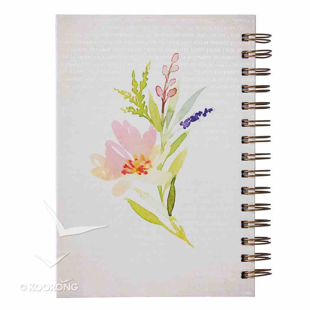 Journal: Be Still, White With Floral Wreath Spiral