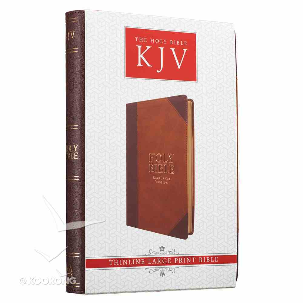 KJV Large Print Thinline Bible Brown Portfolio Red Letter Edition Imitation Leather