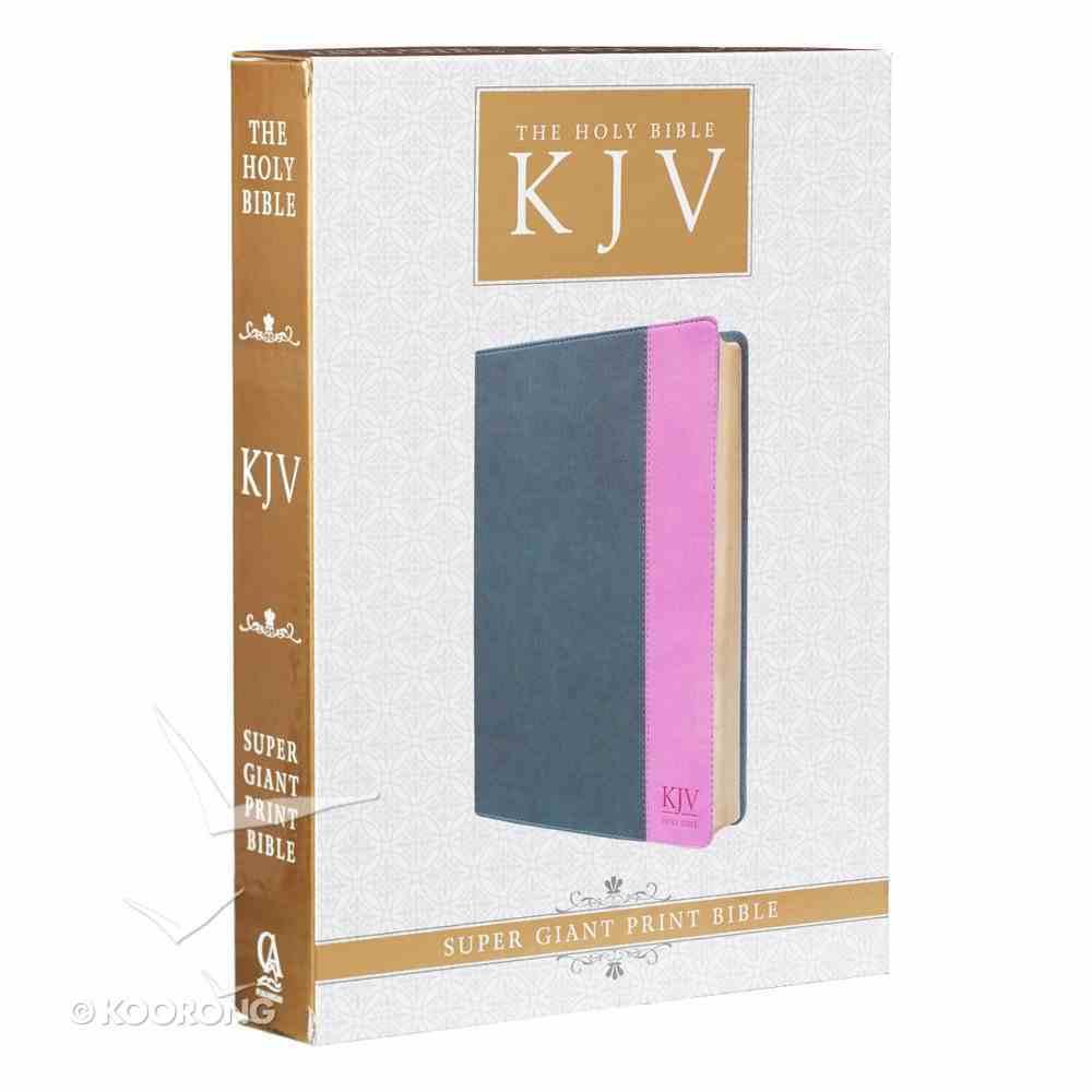 KJV Super Giant Print Bible Grey/Pink Red Letter Edition Imitation Leather