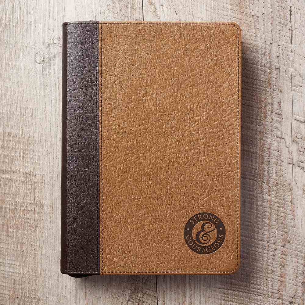 Journal: Father's Day, Strong & Courageous Luxleather (Brown/dark Brown) Imitation Leather