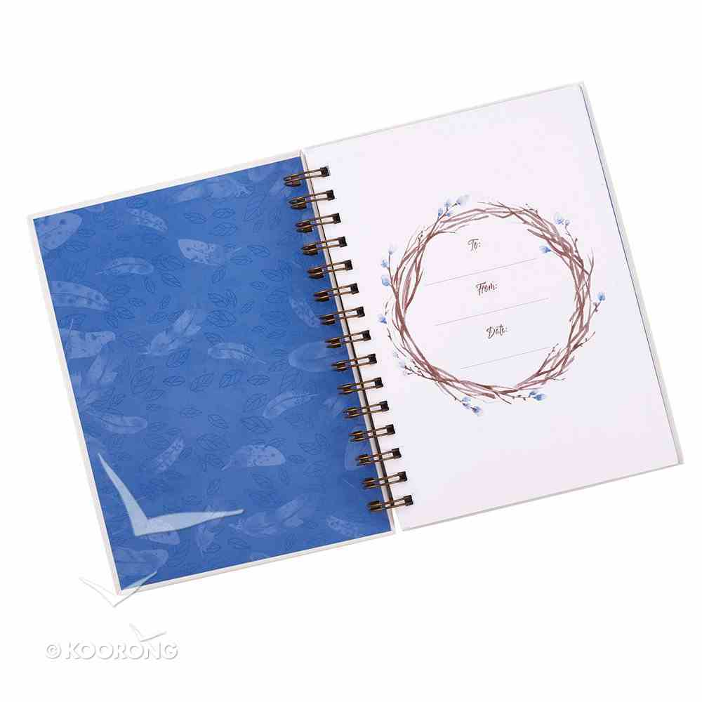 Wirebound Journal: He Will Cover You With His Feathers, Blue Feathers Spiral