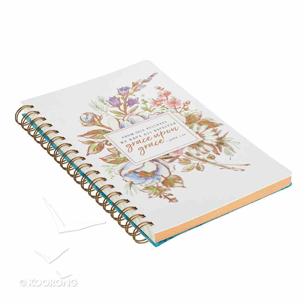 Spiral Journal: Grace Upon Grace, Floral/White, Luxleather Spiral