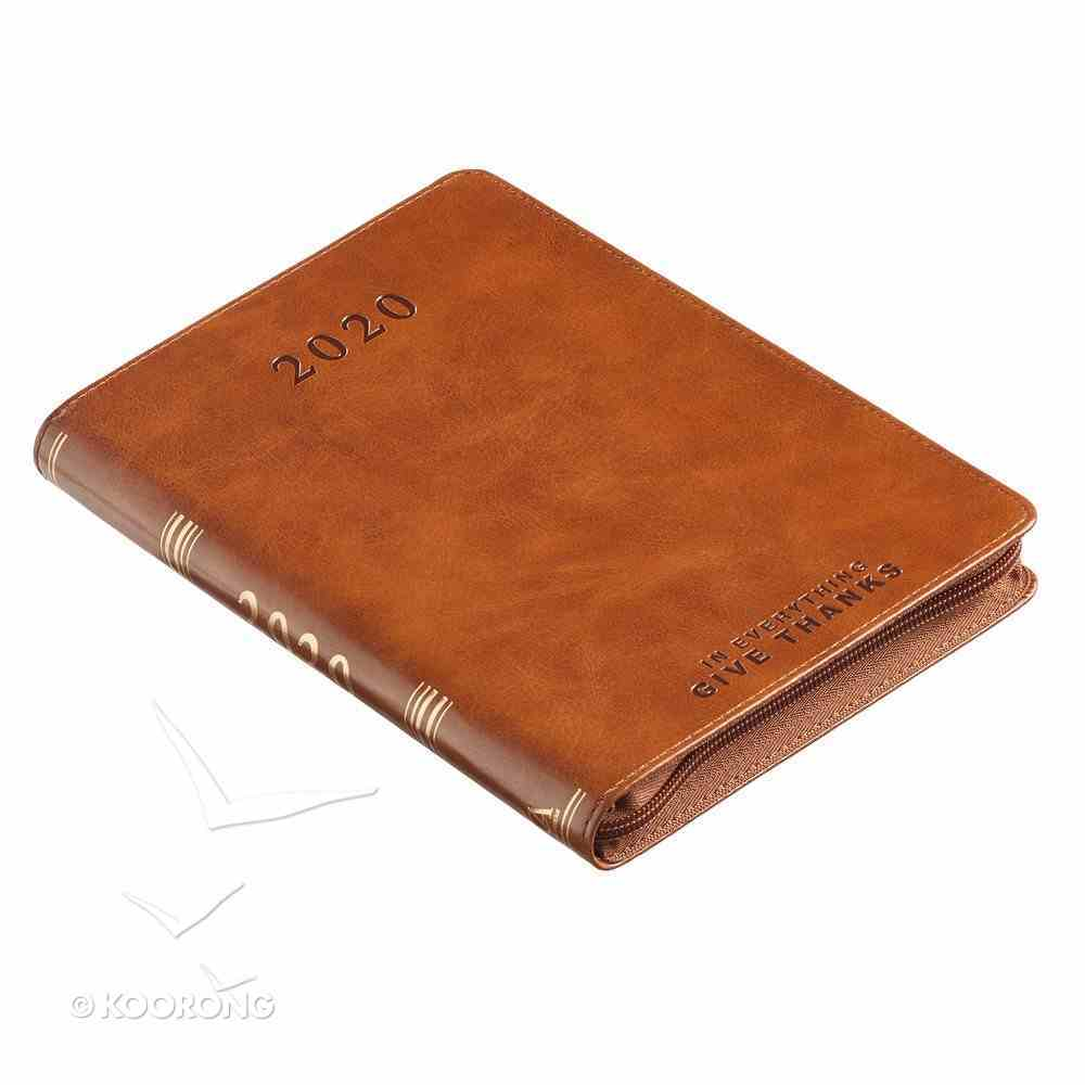 2020 Executive 12-Month Diary/Planner: In Everything Give Thanks, Brown Luxleather Imitation Leather