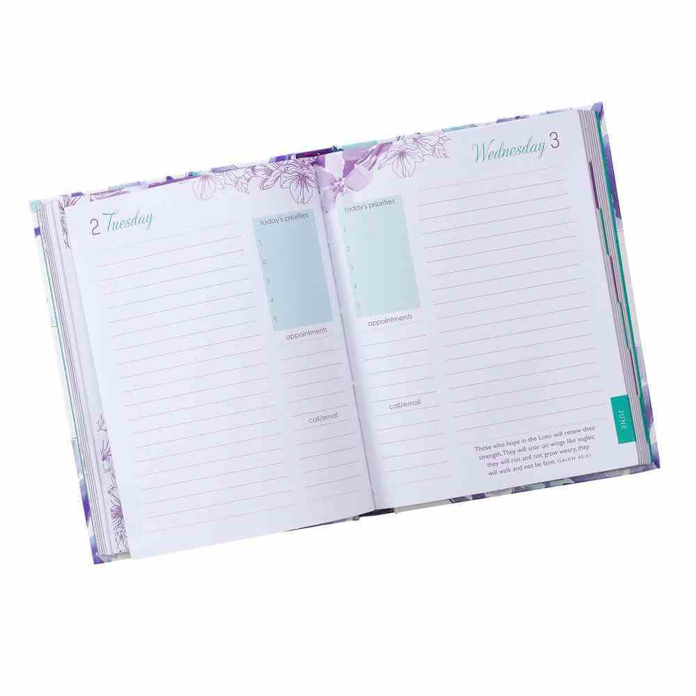 2020 12-Month Daily Diary/Planner For Women: Living Life Well, Purple/Green Floral Hardback