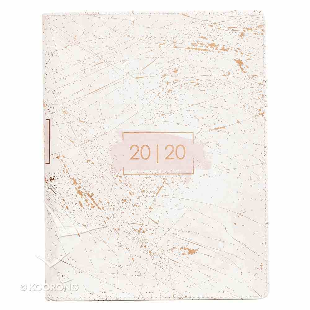 2020 Large 18-Month Diary/Planner: Cream/Marble Look Imitation Leather