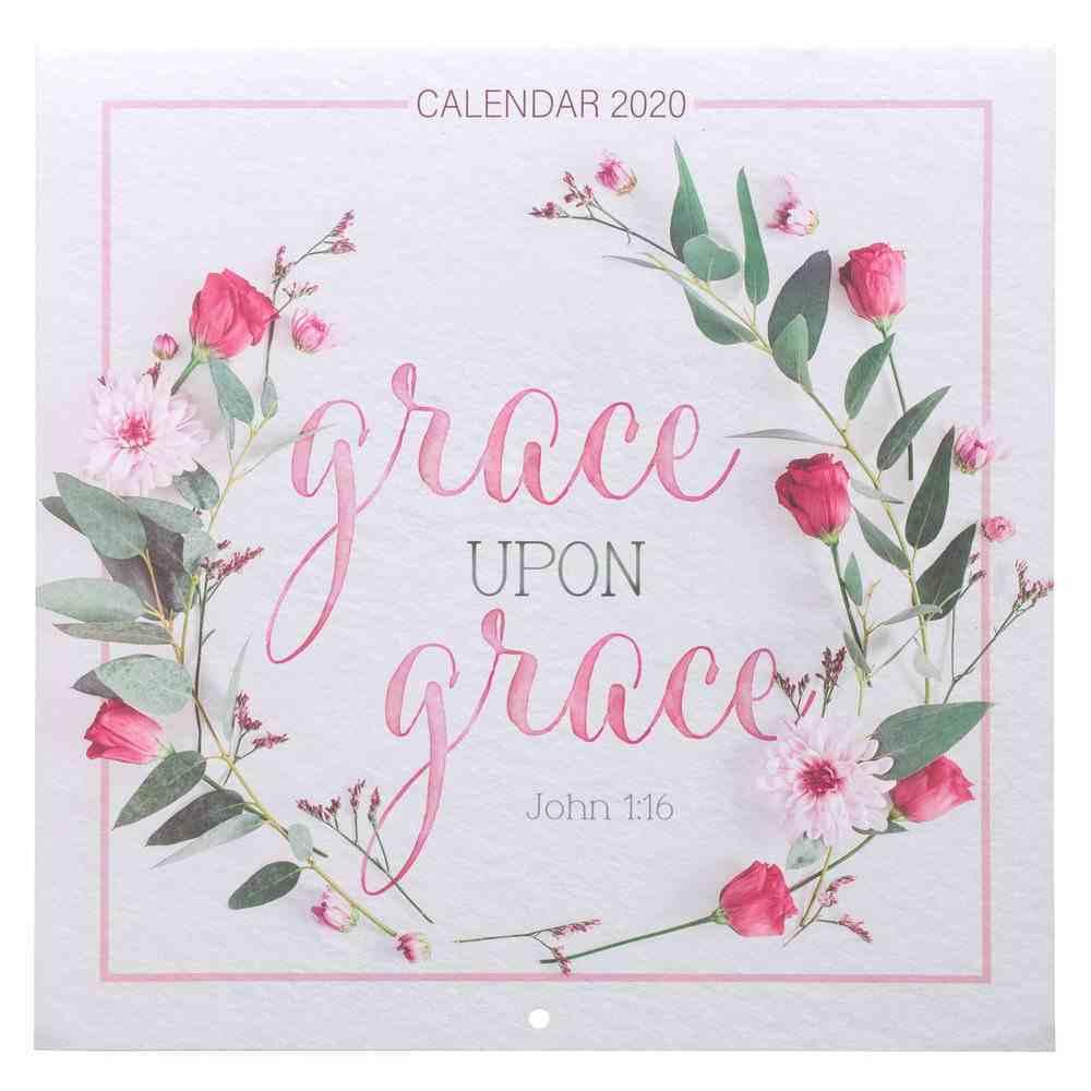 2020 Large Calendar: Grace Upon Grace, Pink Wreath Calendar